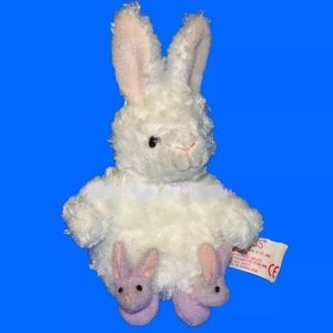 RUSS #27511 WHTE RABBIT LILAC SLIPPERS SILKY PLUSH